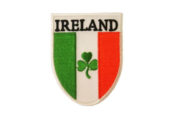 """IRELAND COUNTRY FLAG WITH SHAMROCK FLOWER EMBROIDERED IRON ON PATCH CREST BADGE .. SIZE : 2"""" x 2 3/4"""" INCHES .. NEW"""