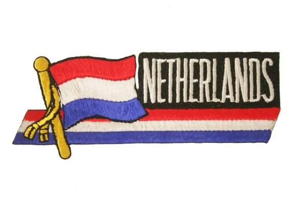 "NETHERLANDS SIDEKICK WORD COUNTRY FLAG EMBROIDERED IRON ON PATCH CREST BADGE .. SIZE : 1 1/2"" x 4 1/2"" INCHES .. NEW"