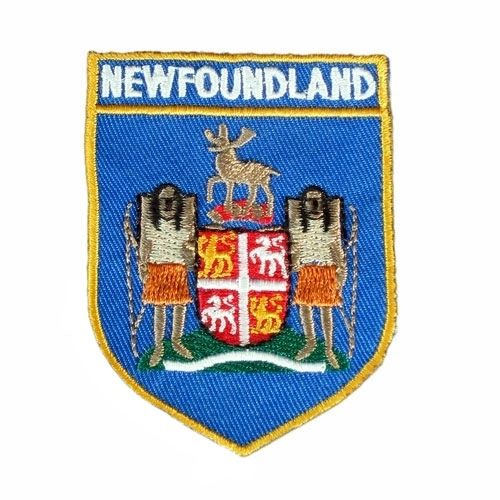 NEWFOUNDLAND BLUE SHIELD CANADA PROVINCIAL FLAG IRON ON PATCH CREST BADGE .. NEW