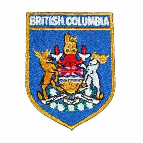 BRITISH COLUMBIA BLUE SHIELD CANADA PROVINCIAL FLAG IRON ON PATCH CREST BADGE .. NEW