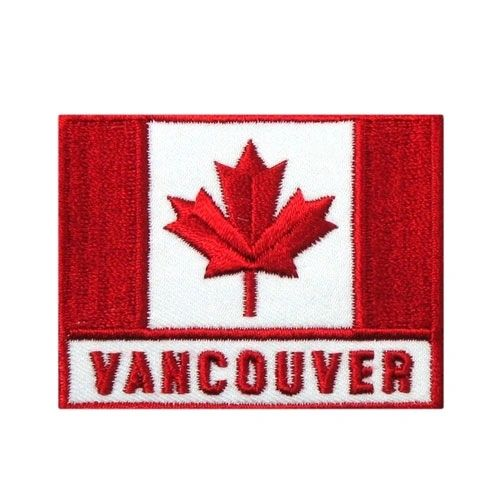 """RED SQUARE COUNTRY FLAG WITH WORD """"VANCOUVER"""" IRON ON PATCH CREST BADGE .. NEW"""