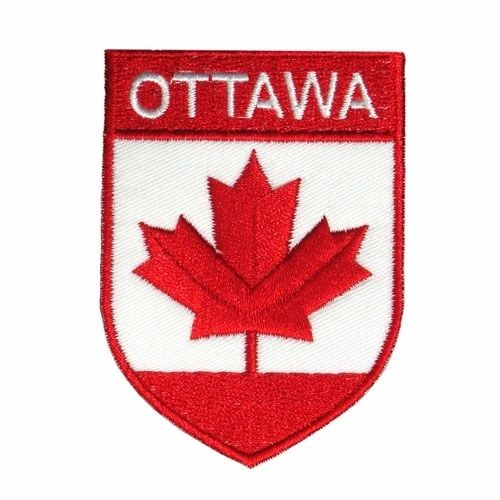 "RED SHIELD COUNTRY FLAG WITH WORD ""OTTAWA"" IRON ON PATCH CREST BADGE .. NEW"