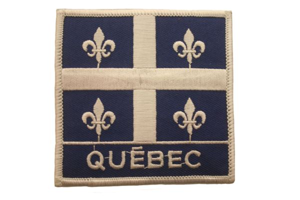"QUEBEC SQUARE X - LARGE WITH WORD ""QUEBEC"" IRON ON PATCH CREST BADGE .. NEW"