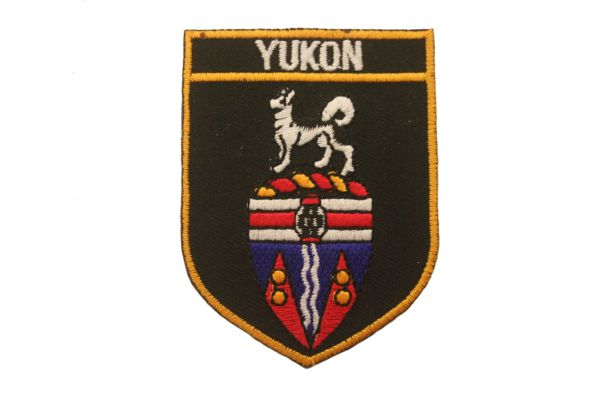 "YUKON BLACK SHIELD CANADA PROVINCIAL FLAG WITH WORD ""YUKON"" IRON ON PATCH CREST BADGE .. NEW"