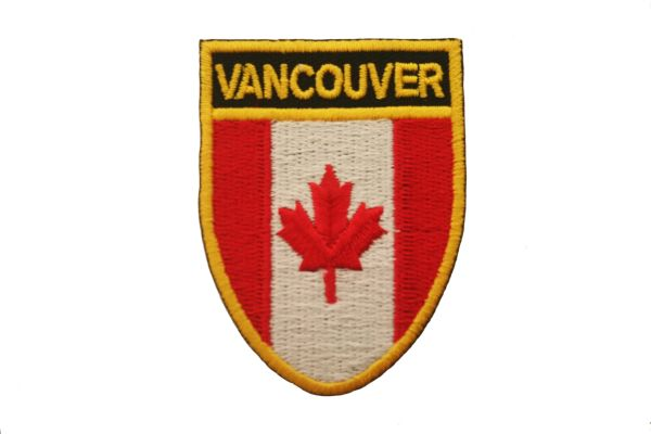 "VANCOUVER SHIELD CANADA PROVINCIAL FLAG WITH WORD ""VANCOUVER"" IRON ON PATCH CREST BADGE .. NEW"