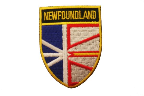 """NEWFOUNDLAND SHIELD CANADA PROVINCIAL FLAG WITH WORD """"NEWFOUNDLAND"""" IRON ON PATCH CREST BADGE .. NEW"""