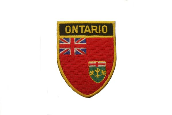 "ONTARIO SHIELD CANADA PROVINCIAL FLAG WITH WORD ""ONTARIO"" IRON ON PATCH CREST BADGE .. NEW"