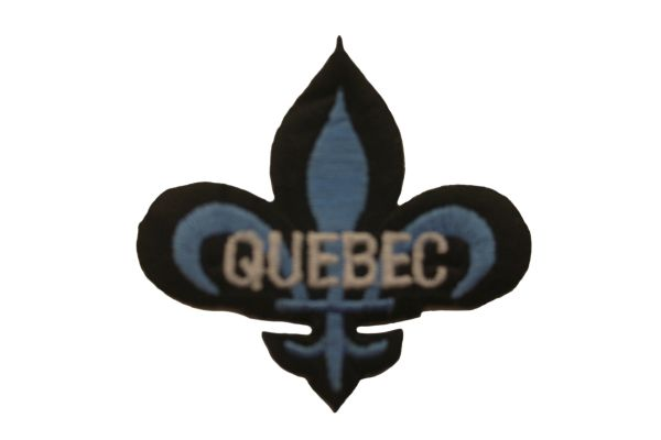 QUEBEC SMALL FLEUR-DE-LIS IRON ON PATCH CREST BADGE .. NEW