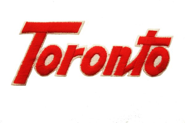 TORONTO WORD RED WITH WHITE OUTLINE IRON ON PATCH CREST BADGE .. NEW