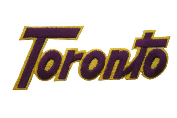TORONTO WORD PURPLE WITH YELLOW OUTLINE IRON ON PATCH CREST BADGE .. NEW