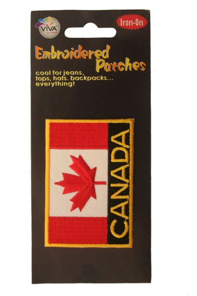 """CANADA SQUARE COUNTRY FLAG WITH WORD """"CANADA"""" IRON ON PATCH CREST BADGE .. NEW"""