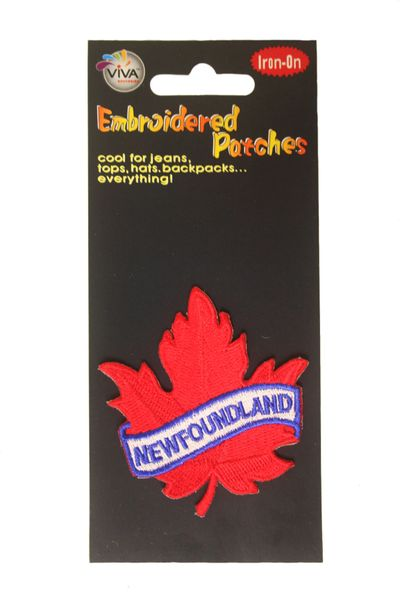 """""""NEWFOUNDLAND"""" RED MAPLE LEAF EMBROIDERED IRON ON PATCH CREST BADGE .. NEW"""