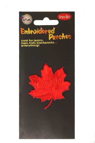 """CANADA"" RED MAPLE LEAF EMBROIDERED IRON ON PATCH CREST BADGE .. NEW"