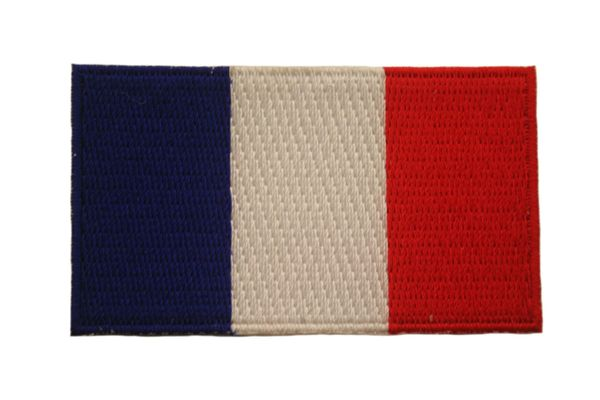 FRANCE NATIONAL COUNTRY FLAG IRON ON PATCH CREST BADGE .. 1.5 X 2.5 INCHES .. NEW