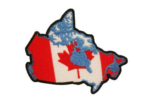 "CANADA COUNTRY SHAPE EMBROIDERED IRON ON PATCH CREST BADGE .. SIZE : 2 1/2"" X 3"" INCHES .. NEW"