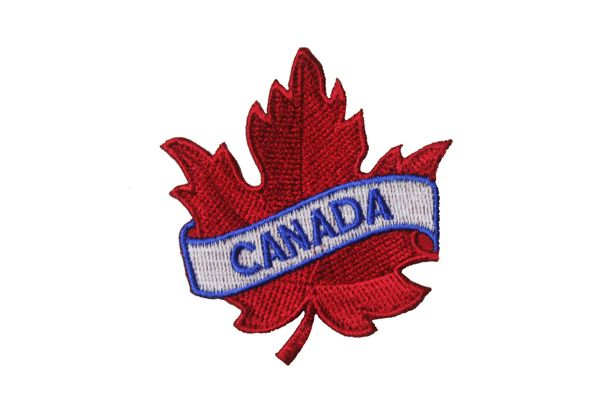 "CANADA RED MAPLE LEAF EMBROIDERED IRON ON PATCH CREST BADGE .. SIZE : 2 1/2"" x 2 1/2"" INCHES"