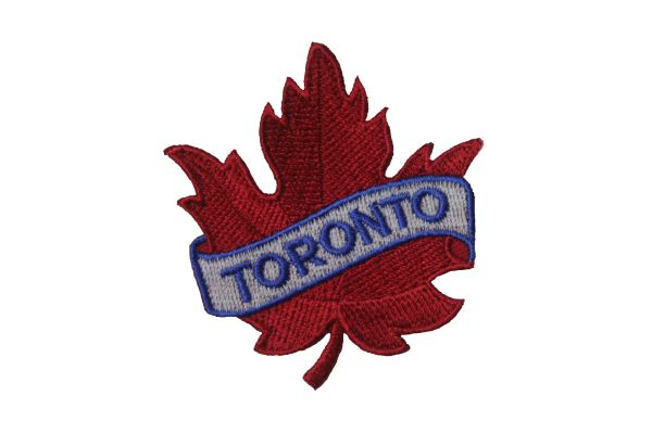 "TORONTO RED MAPLE LEAF EMBROIDERED IRON ON PATCH CREST BADGE .. SIZE : 2 1/2"" x 2 1/2"" INCHES"