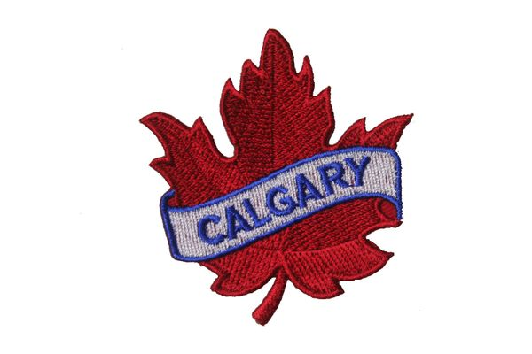 "CALGARY RED MAPLE LEAF EMBROIDERED IRON ON PATCH CREST BADGE .. SIZE : 2 1/2"" x 2 1/2"" INCHES"