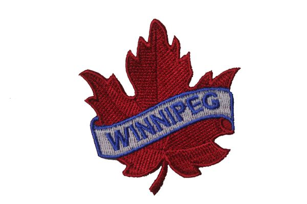 "WINNIPEG RED MAPLE LEAF EMBROIDERED IRON ON PATCH CREST BADGE .. SIZE : 2 1/2"" x 2 1/2"" INCHES"