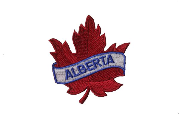 "ALBERTA RED MAPLE LEAF EMBROIDERED IRON ON PATCH CREST BADGE .. SIZE : 2 1/2"" x 2 1/2"" INCHES"