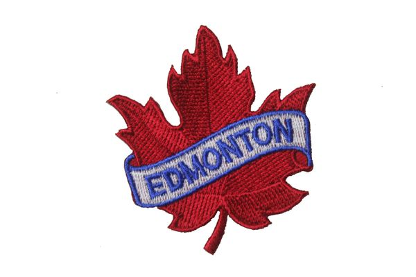 "EDMONTON RED MAPLE LEAF EMBROIDERED IRON ON PATCH CREST BADGE .. SIZE : 2 1/2"" x 2 1/2"" INCHES"