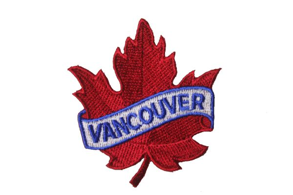 """VANCOUVER RED MAPLE LEAF EMBROIDERED IRON ON PATCH CREST BADGE .. SIZE : 2 1/2"""" x 2 1/2"""" INCHES"""