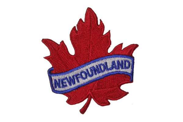 "NEWFOUNDLAND RED MAPLE LEAF EMBROIDERED IRON ON PATCH CREST BADGE .. SIZE : 2 1/2"" x 2 1/2"" INCHES"