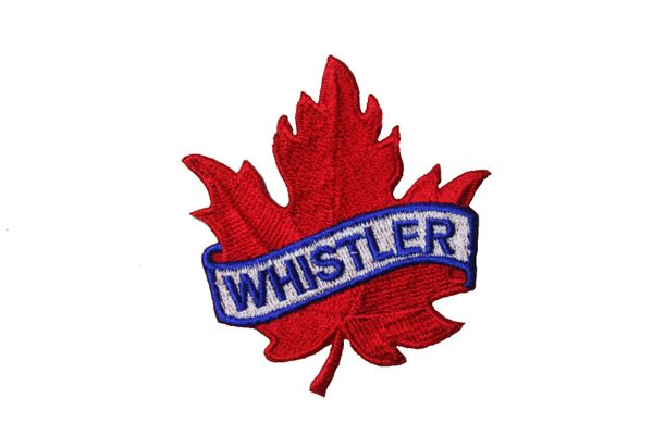 "WHISTLER RED MAPLE LEAF EMBROIDERED IRON ON PATCH CREST BADGE .. SIZE : 2 1/2"" x 2 1/2"" INCHES"