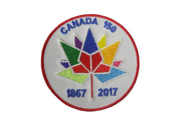 "CANADA 150 YEAR ANNIVERSARY 1867-2017 EMBROIDERED IRON ON PATCH CREST BADGE .. SIZE : 2 1/2"" INCH ROUND"