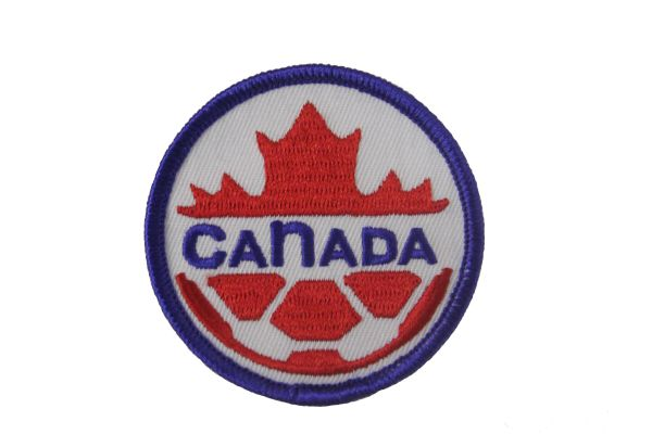 "CANADA WORLD CUP SOCCER EMBROIDERED IRON ON PATCH CREST BADGE WITH BLUE WORD .. SIZE : 2 3/8"" INCH ROUND"
