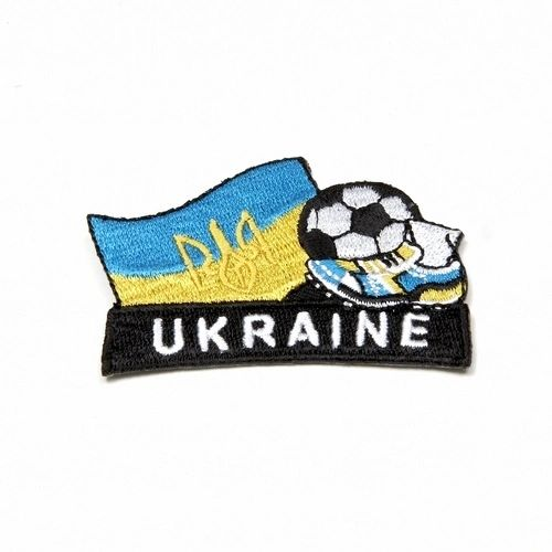 "UKRAINE WITH TRIDENT FIFA SOCCER WORLD CUP , KICK COUNTRY FLAG EMBROIDERED IRON ON PATCH CREST BADGE .. SIZE : 2"" x 1.75"" INCHES .. NEW"