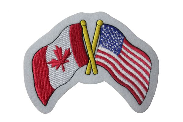 "CANADA & USA FRIENDSHIP COUNTRY FLAGS EMBROIDERED IRON ON PATCH CREST BADGES .. SIZE : 3.5"" x 4.5"" INCH"