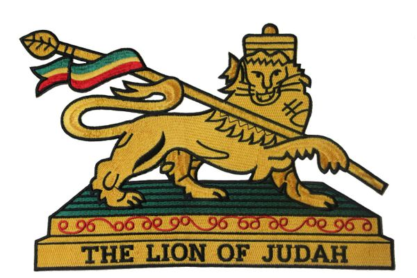 "ETHIOPIA THE LION OF JUDAH EMBROIDERED IRON ON PATCH CREST BADGE .. SIZE : XX-LARGE , 11.5"" x 8"" INCH ."