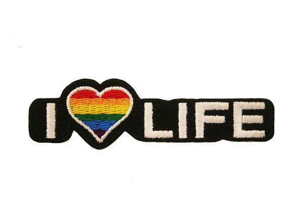 "I LOVE LIFE RAINBOW GAY & LESBIAN PRIDE EMBROIDERED IRON ON PATCH CREST BADGE .. SIZE : 1"" x 3.6"" INCH"