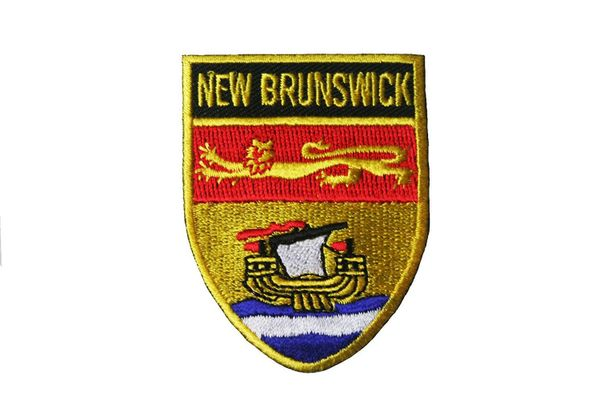 NEW BRUNSWICK SHIELD CANADA PROVINCIAL FLAG WITH WORD IRON ON PATCH CREST BADGE