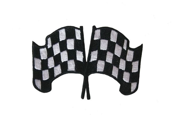 DOUBLE CHECKERED RACING FLAG IRON ON PATCH CREST BADGE