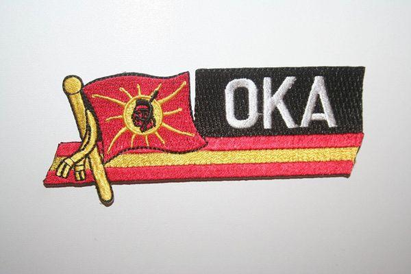 OKA SIDEKICK WORD COUNTRY FLAG IRON ON PATCH CREST BADGE