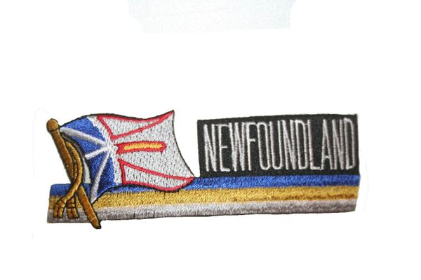 NEWFOUNDLAND CANADA PROVINCIAL FLAG SIDEKICK WORD IRON ON PATCH CREST BADGE
