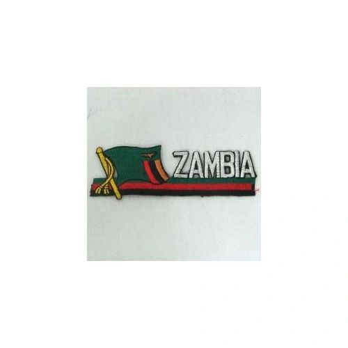 ZAMBIA COUNTRY FLAG SIDEKICK WORD IRON ON PATCH CREST BADGE