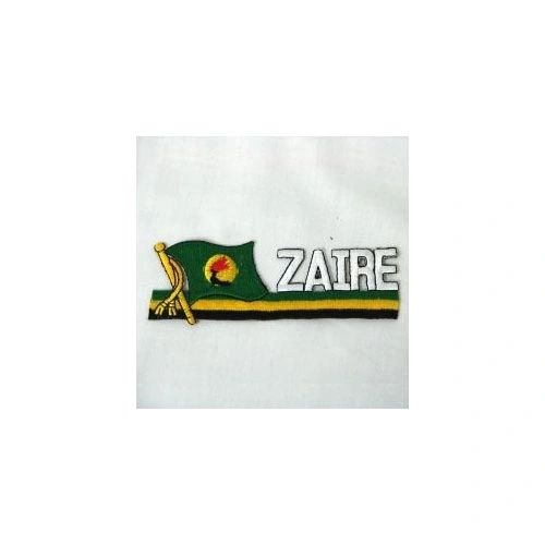 ZAIRE COUNTRY FLAG SIDEKICK WORD IRON ON PATCH CREST BADGE