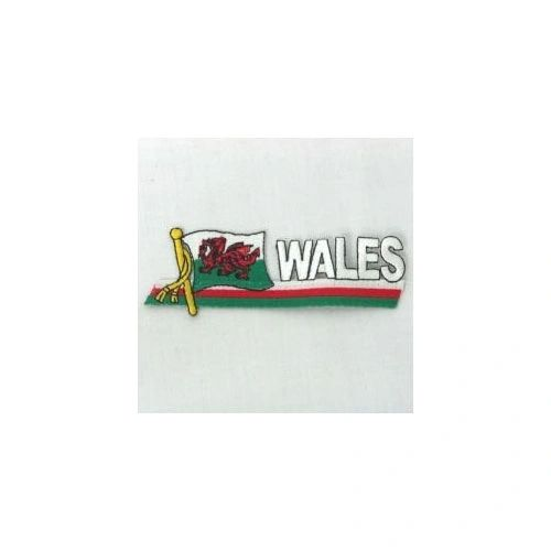 WALES COUNTRY FLAG SIDEKICK WORD IRON ON PATCH CREST BADGE