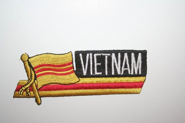 SOUTH VIETNAM COUNTRY FLAG SIDEKICK WORD IRON ON PATCH CREST BADGE