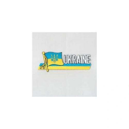 UKRAINE WITH TRIDENT COUNTRY FLAG SIDEKICK WORD IRON ON PATCH CREST BADGE