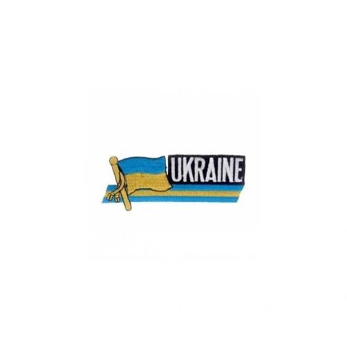 UKRAINE PLAIN COUNTRY FLAG SIDEKICK WORD IRON ON PATCH CREST BADGE