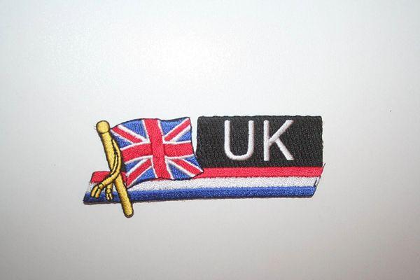 UNITED KINGDOM COUNTRY FLAG SIDEKICK WORD IRON ON PATCH CREST BADGE