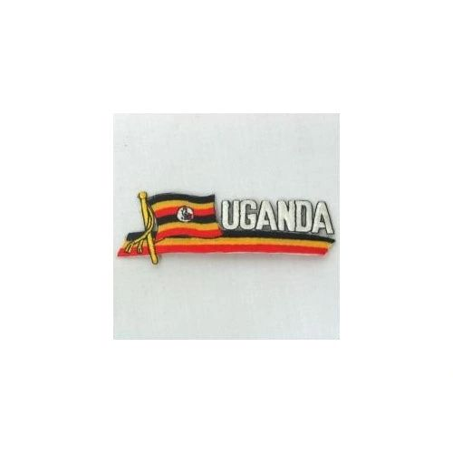 UGANDA COUNTRY FLAG SIDEKICK WORD IRON ON PATCH CREST BADGE