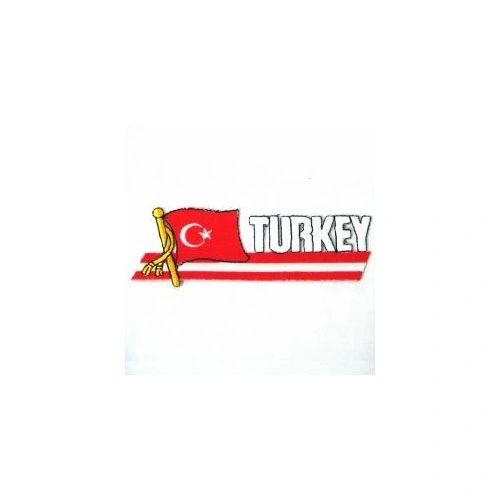 TURKEY COUNTRY FLAG SIDEKICK WORD IRON ON PATCH CREST BADGE