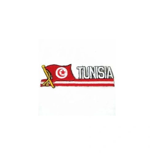 TUNISIA COUNTRY FLAG SIDEKICK WORD IRON ON PATCH CREST BADGE