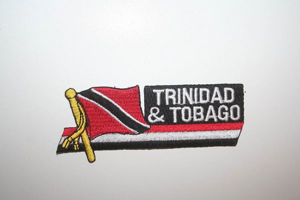 TRINIDAD & TOBAGO COUNTRY FLAG SIDEKICK WORD IRON ON PATCH CREST BADGE