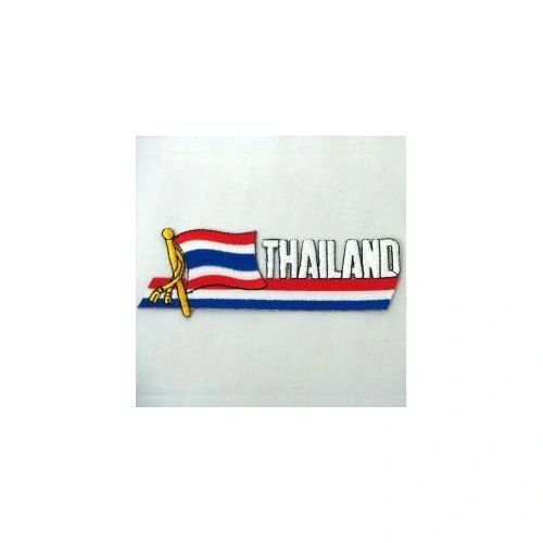 THAILAND COUNTRY FLAG SIDEKICK WORD IRON ON PATCH CREST BADGE